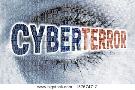 Cyber terror eye with matrix looks at viewer concept.