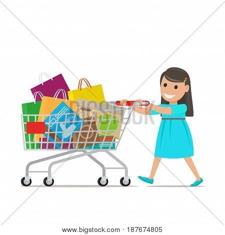 Brunette girl in blue dress smiles, goes and pushes shopping cart full of bags and boxes on white background. Cartoon girl has fun during shopping. Shopping-themed isolated vector illustration.
