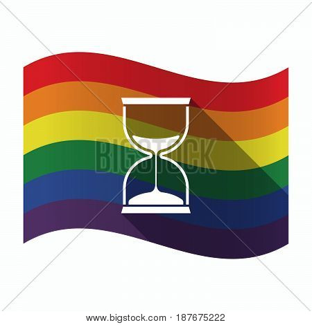 Isolated Gay Pride Flag With A Sand Clock