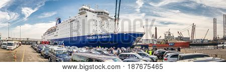 IJMUIDEN, NETHERLANDS - May 14 2017: Cars are waiting to get on the Princess of seaways ferry to Newcastle