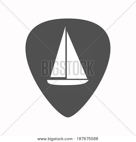 Isolated Guitar Plectrum With A Ship