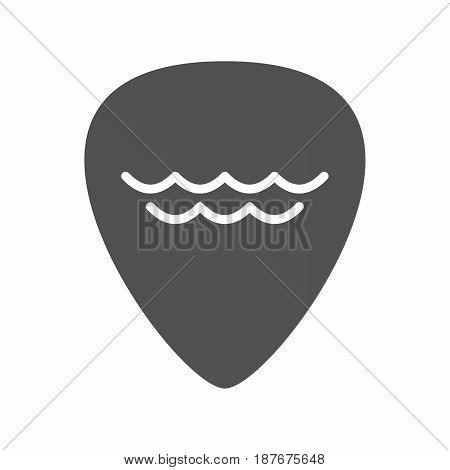 Isolated Guitar Plectrum With A Water Sign
