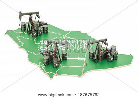 Saudi Arabia map with oil barrels and pumpjacks. Oil production concept. 3D rendering