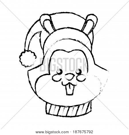 christmas squirrel animal character with hat scarf and nuts vector illustration