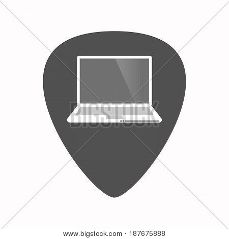 Isolated Guitar Plectrum With A Laptop