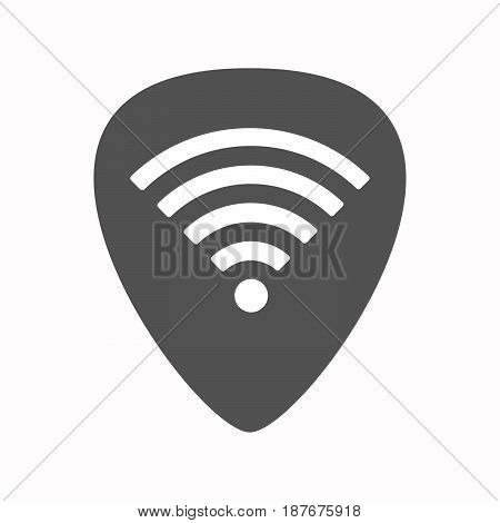 Isolated Guitar Plectrum With A Radio Signal Sign