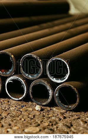 Stack of rusty metal pipes , Rusty pipes.