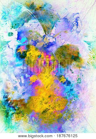 Illustration of a butterfly, mixed medium. Abstract color background