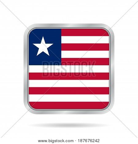 National flag of Liberia. Shiny metallic gray square button with shadow.