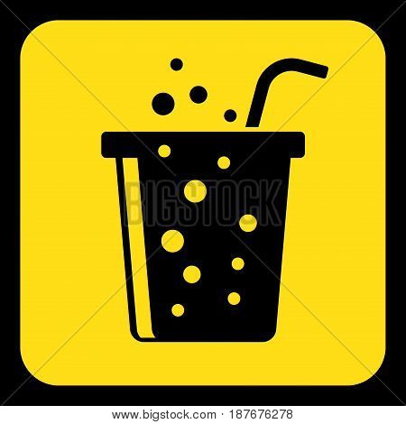 yellow rounded square information road sign - black fast food carbonated drink with straw icon and frame