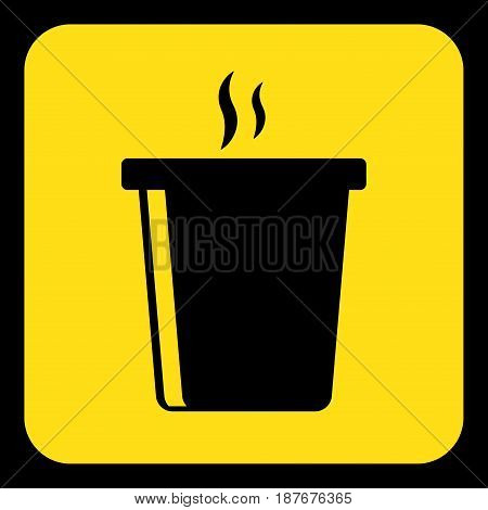 yellow rounded square information road sign - black hot fastfood drink with smoke icon and frame