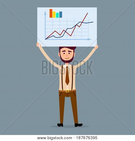 Young male cartoon character with beard in brown tie and trousers with suspenders holds big signboard with chart isolated on dark blue background. Businessman shows statistic vector illustration.