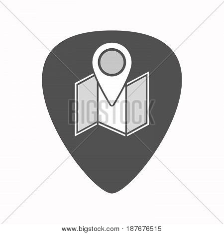 Isolated Guitar Plectrum With A Map
