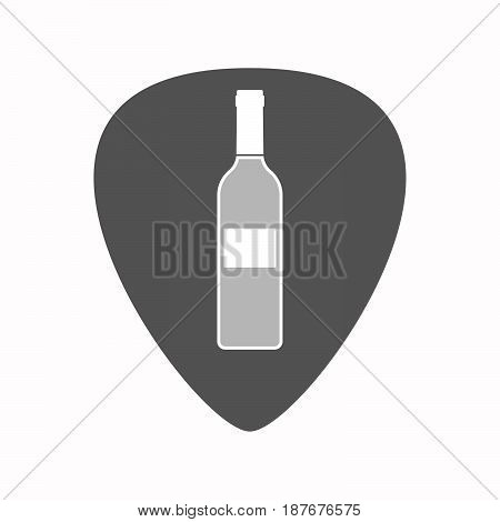 Isolated Guitar Plectrum With A Bottle Of Wine