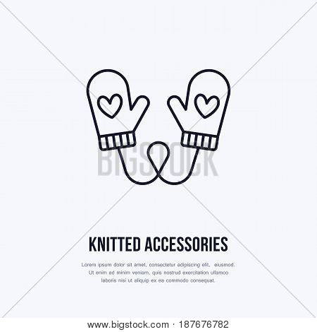 Illustration of woolen mittens. Knitted clothing shop line logo. Vector flat sign for atelier or garment shop.