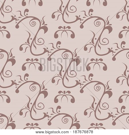 Brown flower seamless background. Fabric print. Vector illustration