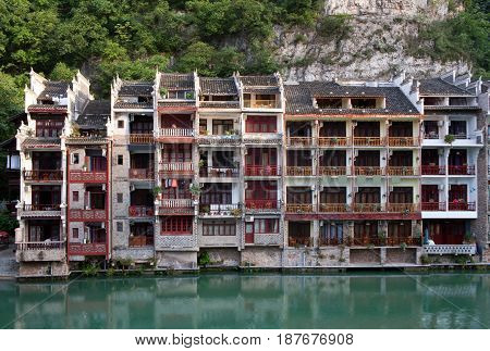 Zhenyuan Ancient Town on Wuyang river in Guizhou Province of China