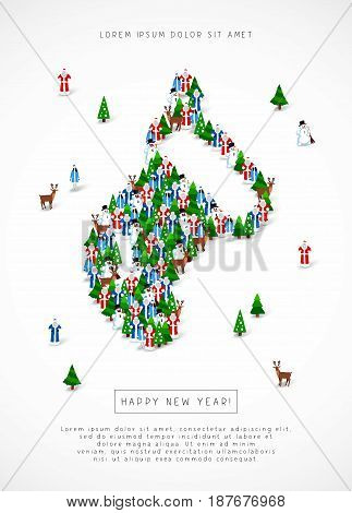 Large group of Santa Clauses, snowmen, deer, trees and Snow Maidens stand in the figure of the New Year's sock. Vector illustration on white background. Concept of a holiday card for Christmas.