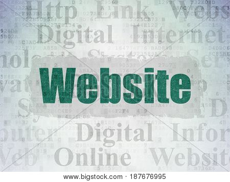 Web development concept: Painted green text Website on Digital Data Paper background with   Tag Cloud