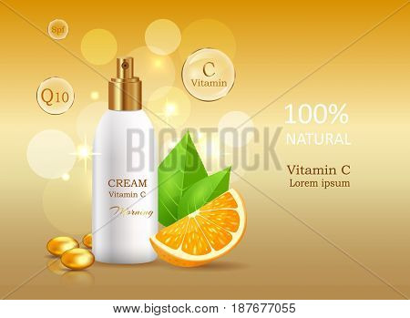 Vitamin C natural cream with sun protective factor coenzyme energizer. Cream bank beside oranges with leaves. Advertisement of natural organic cosmetics. Means for skin care vector illustration.