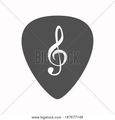 Isolated Guitar Plectrum With A G Clef