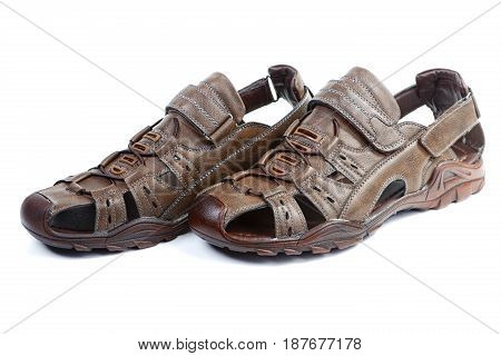 Summer Man's Sandals Isolated On A White Background