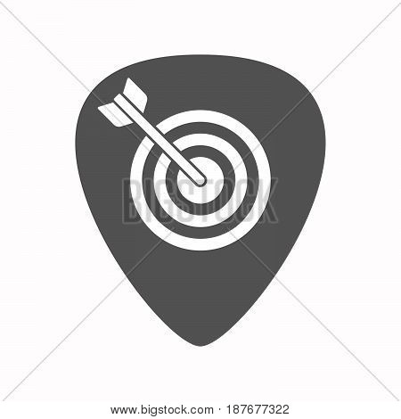 Isolated Guitar Plectrum With A Dart Board