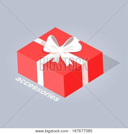 Accessory red gift with white ribbon and bow flat web banner isolated on gray. Present in a rectangular box with text accessories. Vector illustration of electronic commerce hand drawn pattern