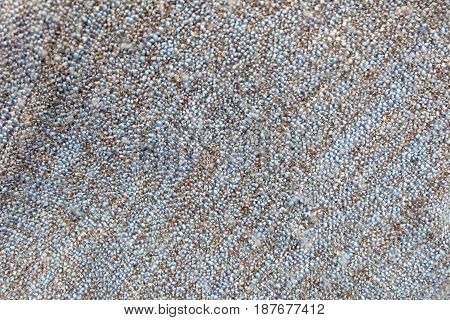 Fabric Texture Close Up of Blue and Brown Blanket Fabric Texture Pattern Background.