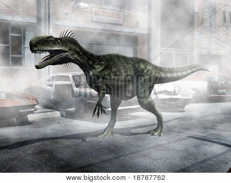monolophosaurus at car dump poster