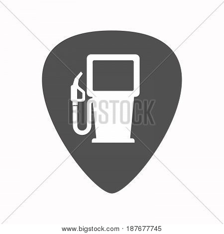 Isolated Guitar Plectrum With A Gas Station