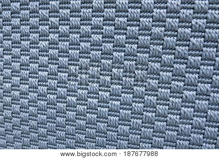 Textile Texture Close Up of Blue Weaving Fabric Pattern Background with Copy Space for Text Decoration.