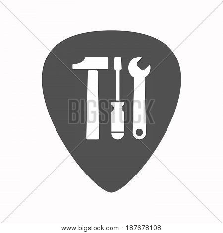 Isolated Guitar Plectrum With A Tool Set