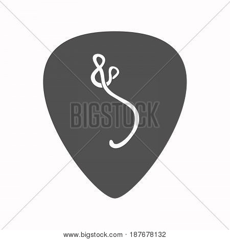Isolated Guitar Plectrum With  An Ebola Sign