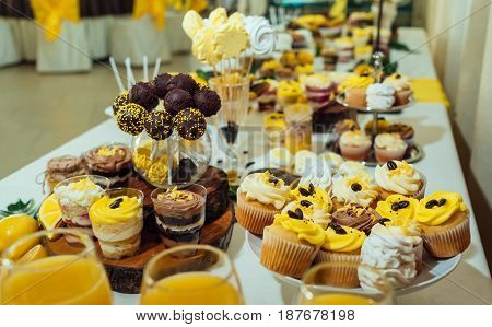 Chocolate Cake Pops, Desserts In Glasses And Cupcakes On Wedding Candy Bar, Selective Focus. Holiday