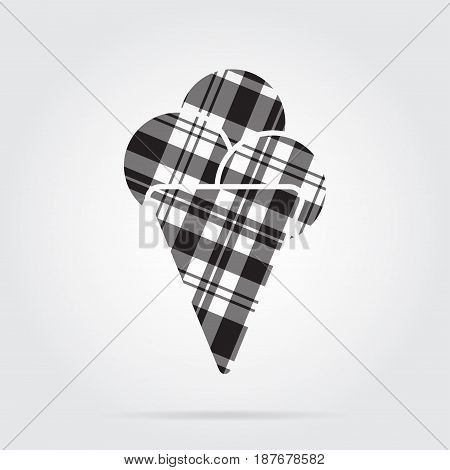 grayscale gray black isolated tartan icon with white stripes - ice cream with three scoops and shadow in front of a gray background