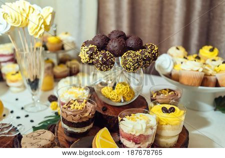 Chocolate Cake Pops, Desserts In Glasses On Wedding Candy Bar, Selective Focus. Holiday Candy Bar In