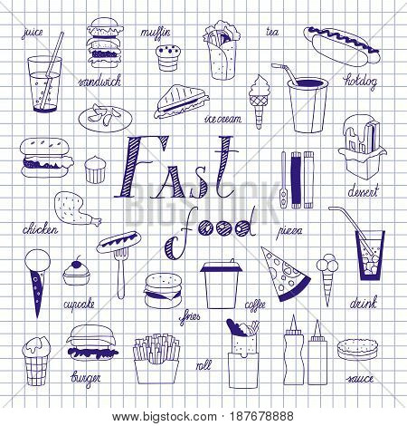 Fast food sketch on notebook sheet. Big vector set. Burgers, sandwiches, hotdogs and drinks hand-drawn.