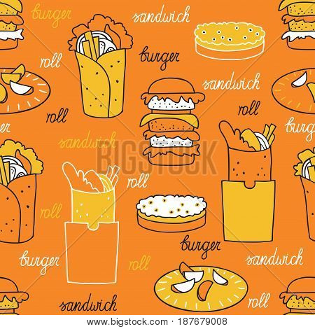 Hamburgers on an orange background. Seamless pattern with hamburger and rolls hand-drawn.