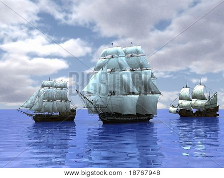 three ships in the sea