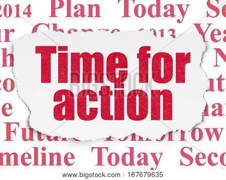 Time concept: Painted red text Time for Action on Torn Paper background with  Tag Cloud
