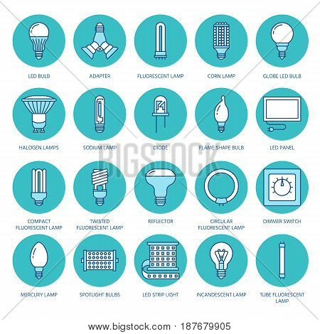 Light bulbs colored flat line icons. Led lamps types, fluorescent, filament, halogen, diode and other illumination. Thin linear signs for idea concept, electric shop.