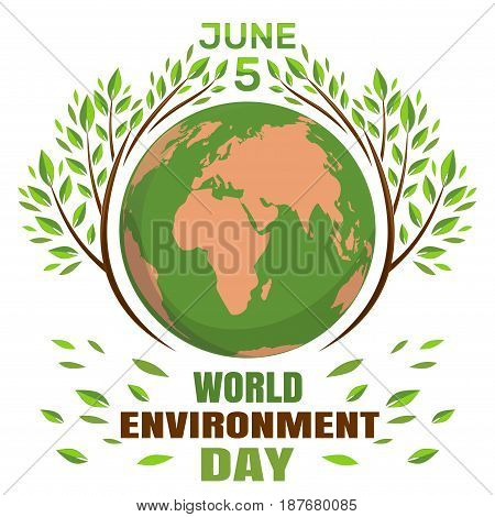 World environment day concept. June 5th. Green Eco Earth. Planets and green leaves. Vector illustration