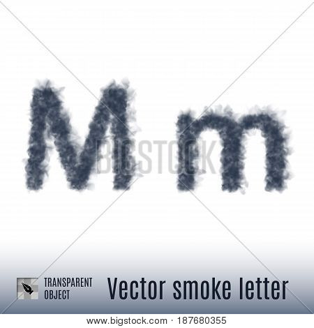 Smoke in Shape of the Letter M on White Background
