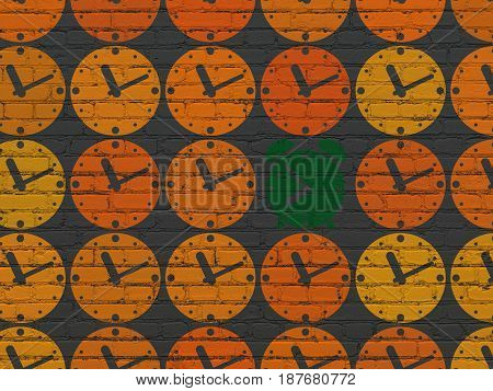 Time concept: rows of Painted orange clock icons around green alarm clock icon on Black Brick wall background