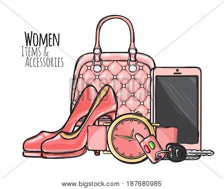 Women items and accessories. Illustration of pink purse, phone, high-heeled shoes, round watch with belt, car key with fob. Fashionable female objects. Poster. Cartoon style. Flat design. Vector