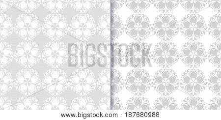 Floral seamless background. Gray and white abstract print. Vector illustration