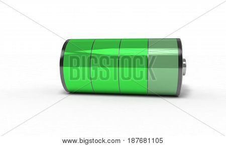 Rechargeable battery high , 3d render working