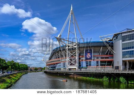 Cardiff Wales - May 21 2017: Millennium Football Stadium side view with river