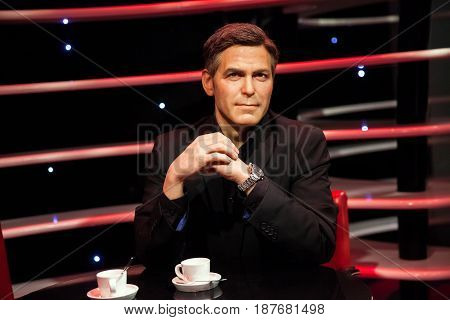 Amsterdam, Netherlands - March, 2017: Wax figure of George Clooney in Madame Tussauds Wax museum in Amsterdam, Netherlands